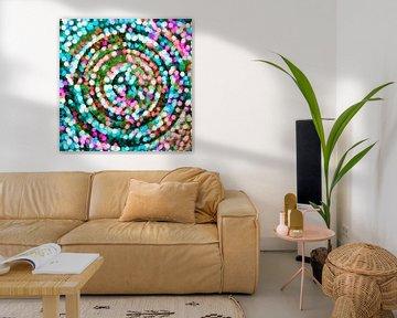 Cercle multicolore, pointillisme sur Rietje Bulthuis