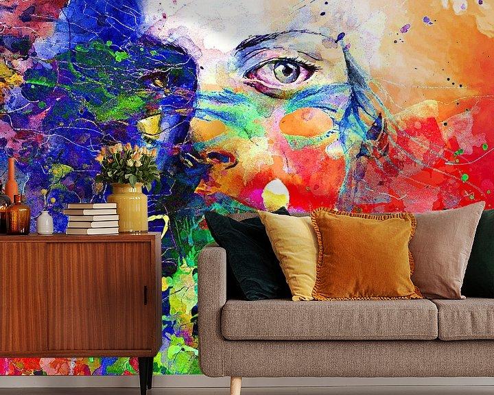 Beispiel fototapete: Face behind colors von PictureWork - Digital artist