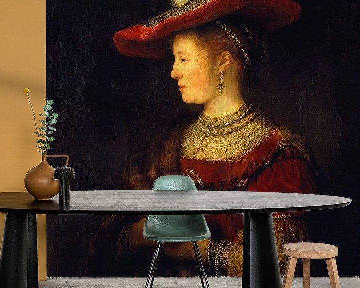 Impression: Saskia et profil en robe riche - Rembrandt