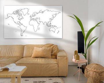 Weltkarte | Linienzeichnung von Wereldkaarten.Shop