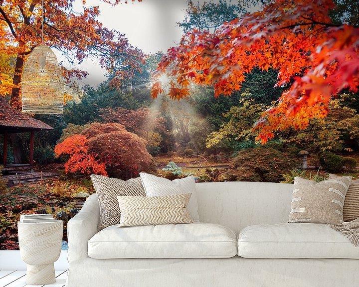 Beispiel fototapete: Herbsthintergrundpanorama im japanischen Park von Ariadna de Raadt-Goldberg