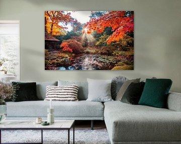 de herfst achtergrondpanorama in Japans park van Ariadna de Raadt
