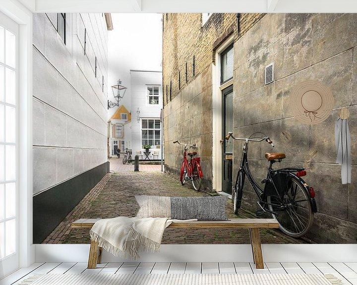 Sfeerimpressie behang: Rode en zwarte fiets in Zierikzee | Zeeland van Ricardo Bouman