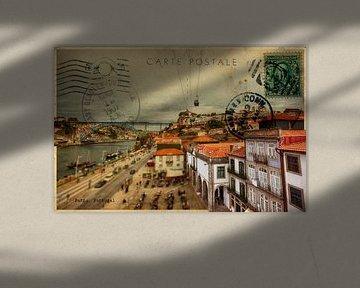 stijlvolle retro kaart van Porto van Ariadna de Raadt-Goldberg
