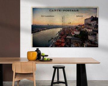 oude retro postkaart van Porto van Ariadna de Raadt-Goldberg