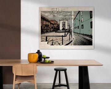 stijlvolle retro ansichtkaart van Porto van Ariadna de Raadt-Goldberg