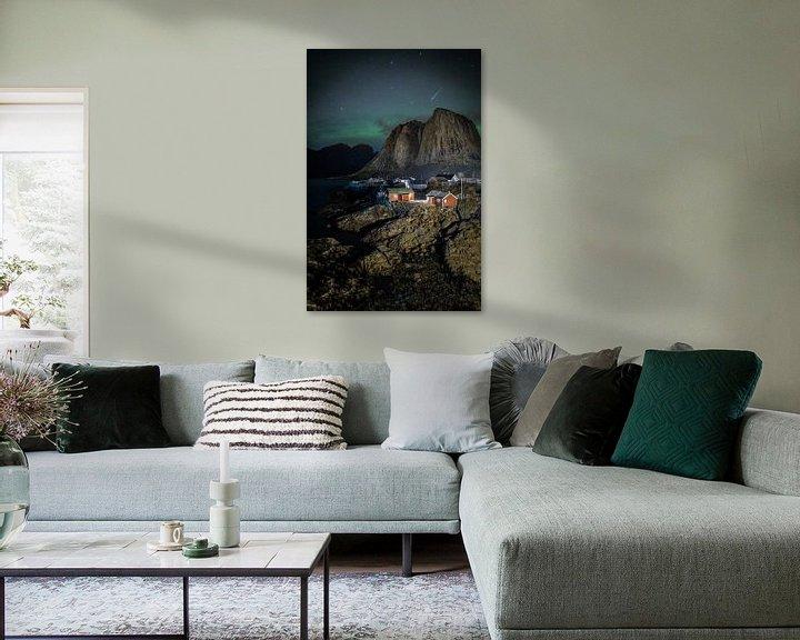 Impression: Aurores boréales, lofoten, norvège sur William Linders