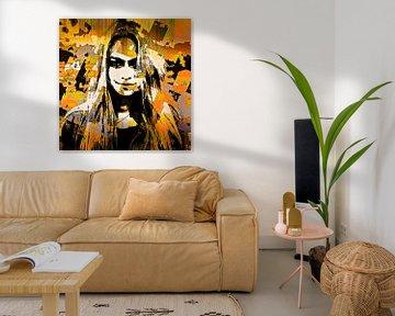 Lady in yellow and black van PictureWork - Digital artist