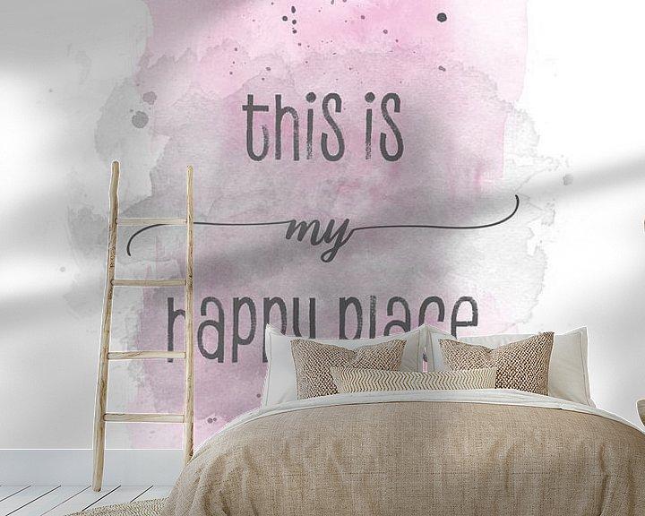 Sfeerimpressie behang: This is my happy place | Aquarell rosa van Melanie Viola