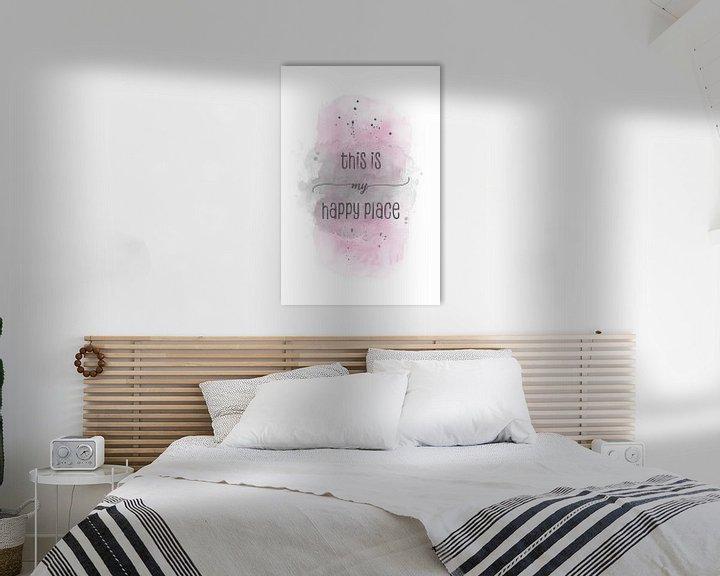 Sfeerimpressie: This is my happy place | Aquarell rosa van Melanie Viola