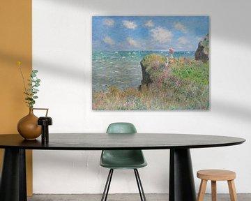 Wandeling op de klif in Pourville, Claude Monet