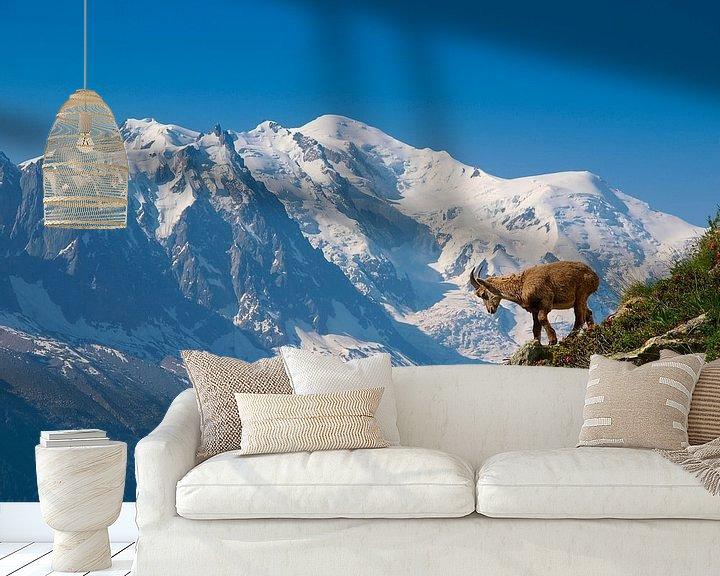 Sfeerimpressie behang: Jonge steenbok voor de Mont Blanc van Menno Boermans