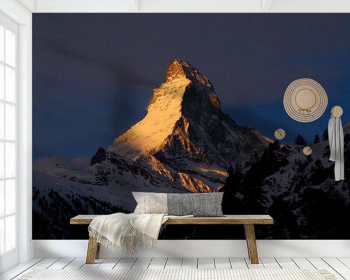 Beispiel fototapete: Goldenes Matterhorn von Menno Boermans