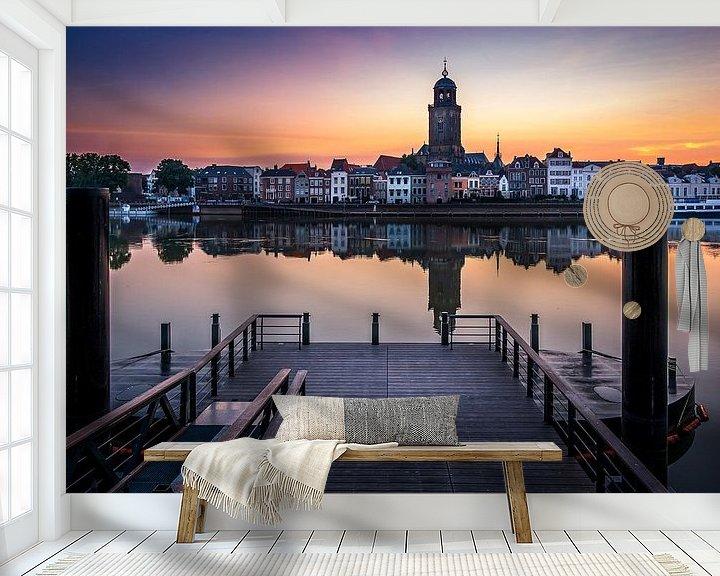 Sfeerimpressie behang: Zonsopkomst aan 'De Worp' in Deventer van Patrick Rodink