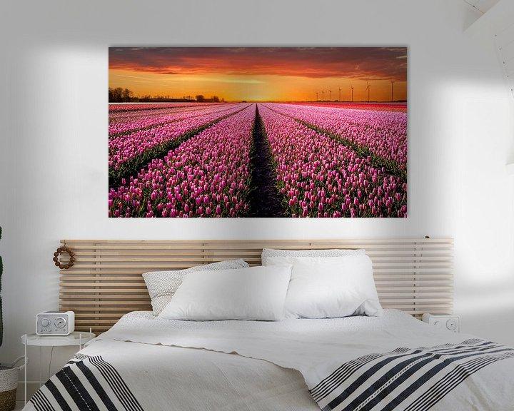 Sfeerimpressie: Tulpenveld bij zonsondergang van Patrick Rodink