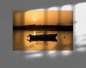 Zon komt op boven rivier in Gambia, Afrika. van Susan van der Riet