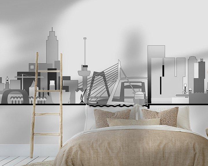 Sfeerimpressie behang: Rotterdamse skyline, grijstinten van Frans Blok