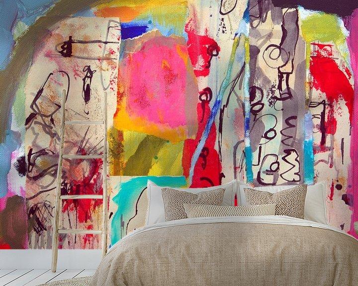"""Sfeerimpressie behang: Collage """"Zoeken naar betekenis"""" van Ina Wuite"""