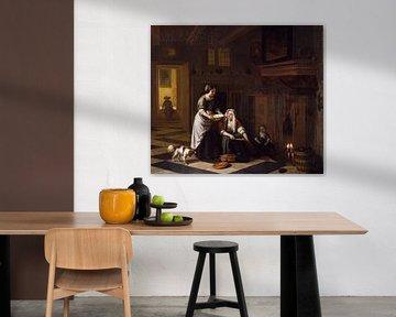 Zwei Frauen, Kinder und Hund in einem Küchen-Interieur, Pieter de Hooch