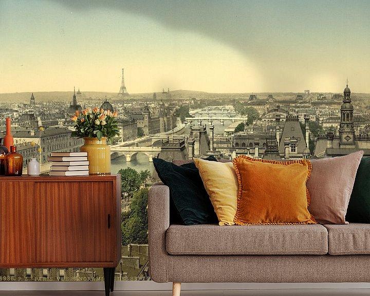 Sfeerimpressie behang: Panorama of the seven bridges, Paris van Vintage Afbeeldingen
