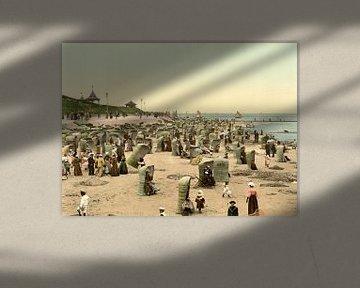 Het leven op het strand, Norderney, Duitsland van Vintage Afbeeldingen