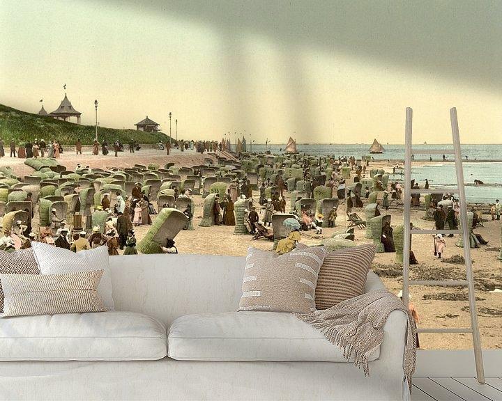 Sfeerimpressie behang: Het leven op het strand, Norderney, Duitsland van Vintage Afbeeldingen