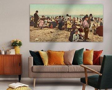 Op het strand bij Coney Island (kleur) sur Vintage Afbeeldingen