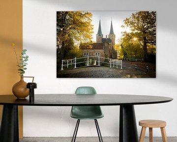 Eastern gate Delft at Sunrise van Gerhard Nel