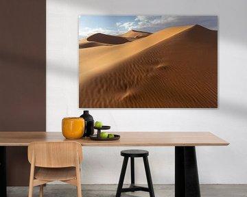 Wüstensanddünen, die von wunderschönem warmem Morgenlicht beleuchtet werden. von Tjeerd Kruse
