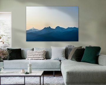 Rocky Mountains bij zonsondergang van Eline Huizenga