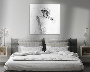 Portraitzeichnung eines schönen Schwans von Art by Jeronimo