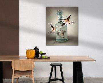 Drie Kolibries om een stopfles van Marianne Rouwendal