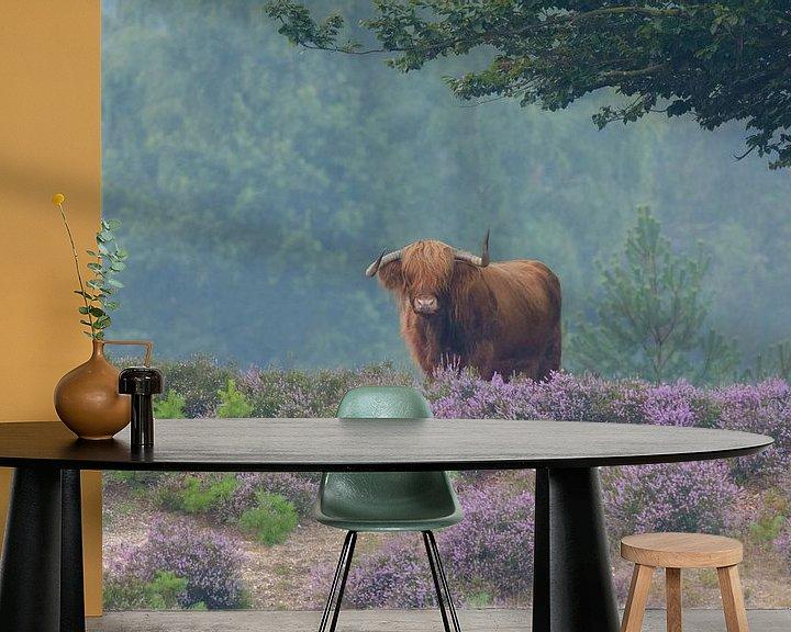 Sfeerimpressie behang: Schotse Hooglander in bloeiende paarse heide van Remco Van Daalen