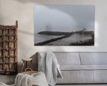 Nederlandse rivier in de mist overloopgebieden. van Brian Morgan