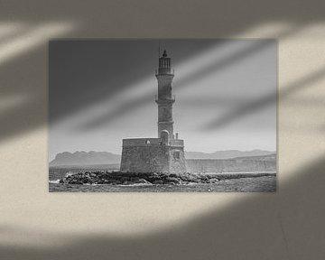 Leuchtturm in Chania, Kreta (Griechenland) schwarz und weiß von Mike Maes