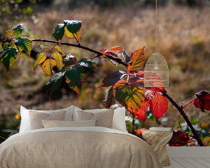 Sfeerimpressie behang: Rood herfstblad van Ingrid Aanen