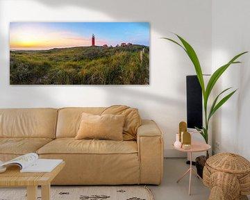 Panorama vuurtoren van Texel tijdens een schitterende Zonsondergang / Panoramicphoto Texel lighthous