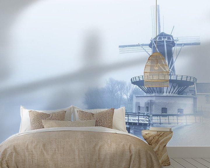 Sfeerimpressie behang: Windmolen in de mist van Brian Morgan