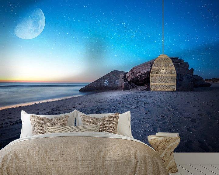 Sfeerimpressie behang: bunker met sterrenhemel van Kristof Ven
