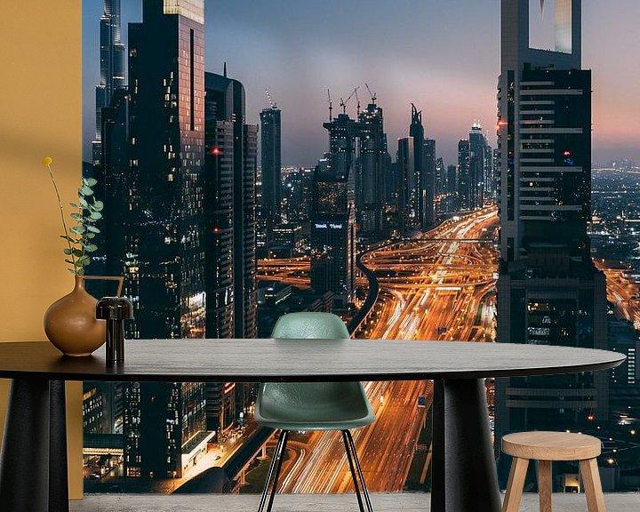Sfeerimpressie behang: Sunset in Dubai van michael regeer