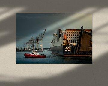 Tugboat in Hamburg's harbour van Stefan Heesch