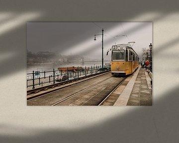 Tram door Boedapest stad, Hongarije van Manon Visser