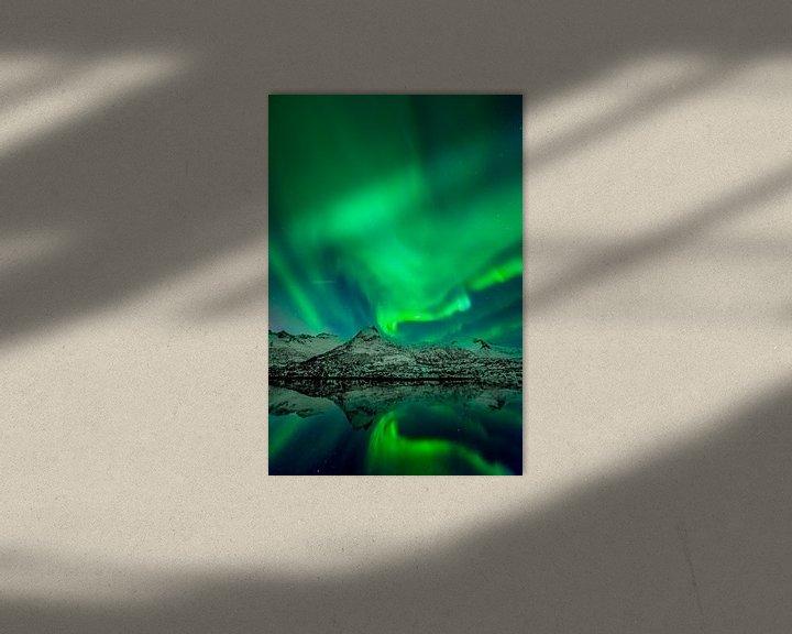 Sfeerimpressie: Noorderlicht boven de Lofoten in Noord Noorwegen van Sjoerd van der Wal