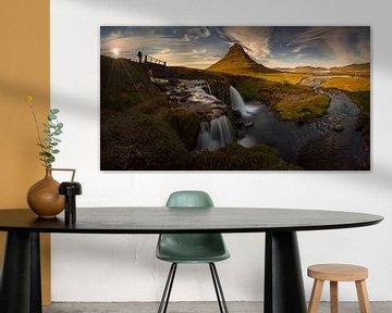 Kirkjufell waterfall panorama van Wojciech Kruczynski