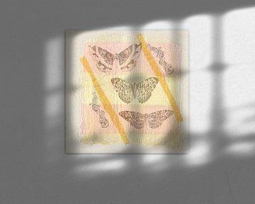 Schmetterlinge auf Stoff von Hella Kuipers