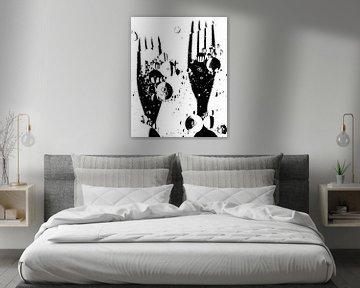vorken: een vorkje meeprikken! (met witte achtergrond,  zwart - wit ) van Marjolijn van den Berg
