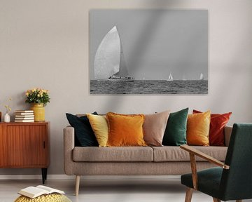 White sailboats on the Mediterranean Sea van Tom Vandenhende