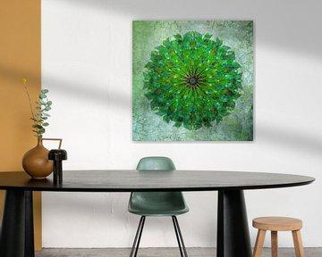 Mandala - Grunge im Grün von Rietje Bulthuis