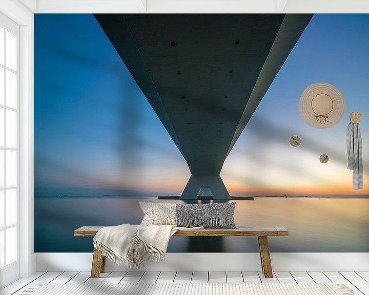 Sfeerimpressie behang: Zeelandbrug van onderen van Roelof Nijholt