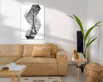 Koordinaten PARIS Eiffelturm | monochrom von Melanie Viola